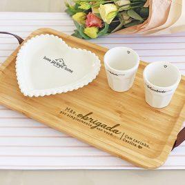 Kit Café com Prato Coração Bolinha